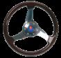 3-Spaaks stuurwiel Elica RVS met mahoniehouten rand  A=350mm  B=95mm