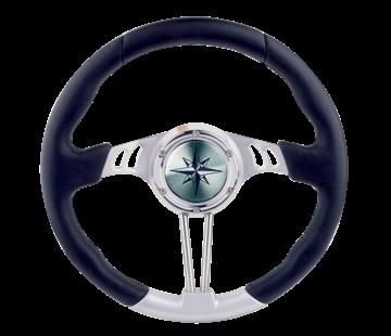 Allpa 3-Spaaks stuurwiel Seahawk zilver aluminium met zwarte polyurethaan rand  A= 350mm  B=90mm