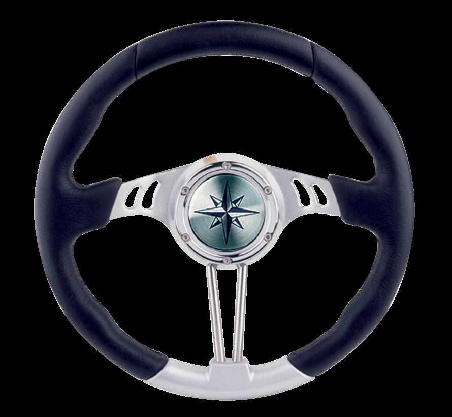 3-Spaaks stuurwiel Seahawk zilver aluminium met zwarte polyurethaan rand  A= 350mm  B=90mm