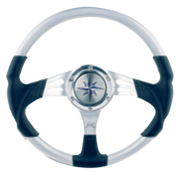 3-Spaaks stuurwiel Siren zilver aluminium met zwarte polyurethaan grip  A=350mm  B=90mm