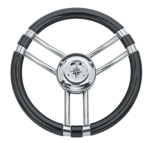 Allpa  3-Spaaks stuurwiel Model 22 RVS met Carbon-look rand  A=350mm  B=60mm