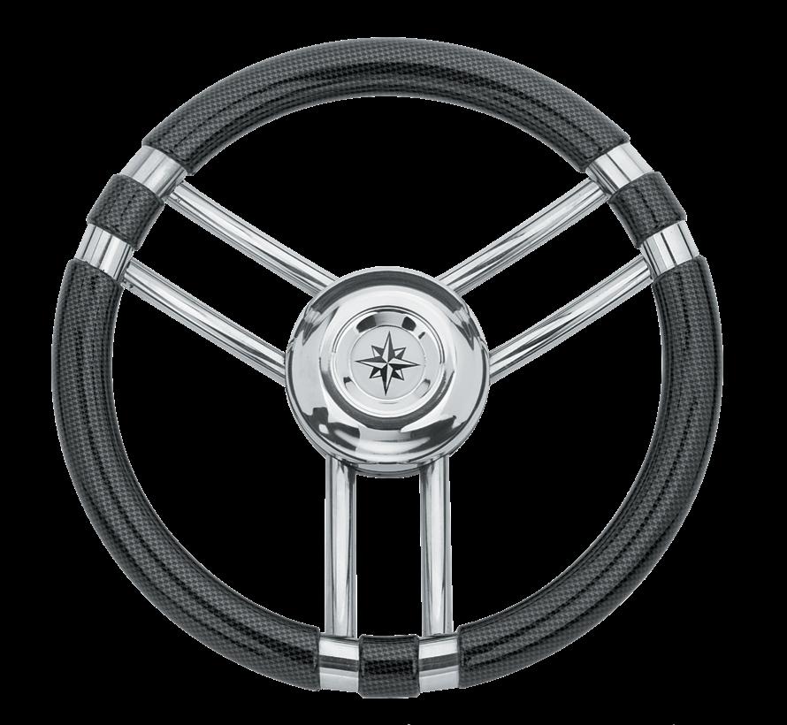 3-Spaaks stuurwiel Model 22 RVS met Carbon-look rand  A=350mm  B=60mm