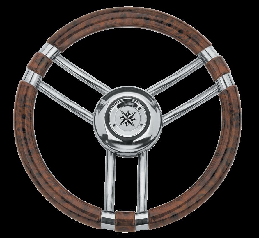 3-Spaaks stuurwiel Model 22 RVS met Wortelnotenhout-look rand  A=350mm  B=60mm