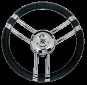 Allpa 3-Spaaks stuurwiel Model 22 RVS met zwarte polyurethaan rand  A=350mm  B=60mm