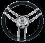 3-Spaaks stuurwiel Model 22 RVS met zwarte polyurethaan rand  A=350mm  B=60mm