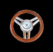 3-Spaaks stuurwiel Model 26L RVS met houten rand  A=350mm  B=60mm