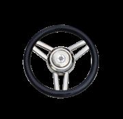Allpa 3-Spaaks stuurwiel Model 26 RVS met zwarte polyurethaan rand  A=350mm  B=60mm