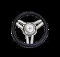 3-Spaaks stuurwiel Model 26 RVS met zwarte polyurethaan rand  A=350mm  B=60mm