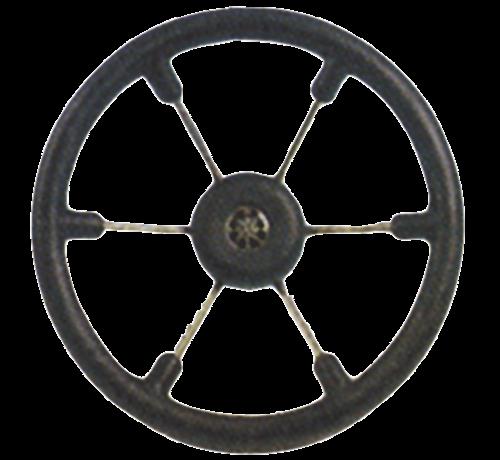 Allpa  6-Spaaks stuurwiel Leader Tanegum RVS met zwarte polyurethaan rand  A=370mm. B=100mm