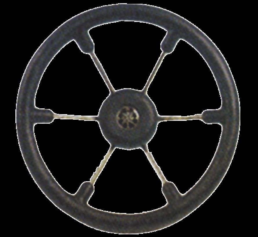 6-Spaaks stuurwiel Leader Tanegum RVS met zwarte polyurethaan rand  A=370mm. B=100mm