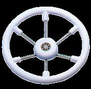 Allpa 6-Spaaks stuurwiel Leader Tanegum RVS met witte polyurethaan rand  A=370mm. B=100mm