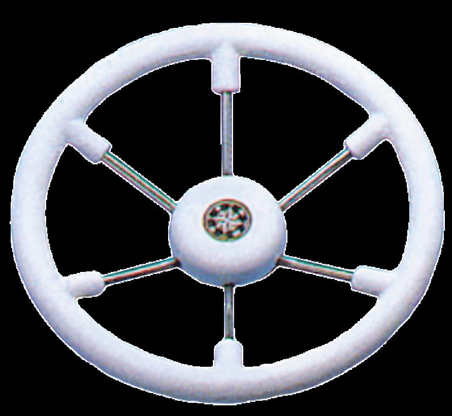 6-Spaaks stuurwiel Leader Tanegum RVS met witte polyurethaan rand  A=370mm. B=100mm