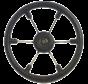 6-Spaaks stuurwiel Leader Tanegum RVS met zwarte polyurethaan rand  A=410mm. B=100mm
