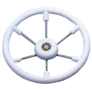 6-Spaaks stuurwiel Leader Tanegum RVS met witte polyurethaan rand  A=410mm. B=100mm
