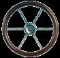 6-Spaaks stuurwiel Leader Wood RVS met mahoniehouten rand  A=360mm  B=100mm