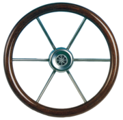 Allpa 6-Spaaks stuurwiel Leader Wood RVS met mahoniehouten rand  A=390mm  B=100mm