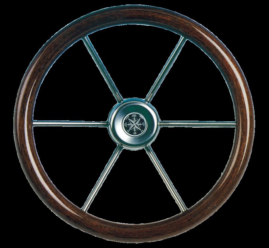 6-Spaaks stuurwiel Leader Wood RVS met mahoniehouten rand  A=390mm  B=100mm