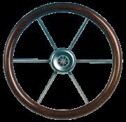 6-Spaaks stuurwiel Leader Wood RVS met mahoniehouten rand  A=550mm  B=100mm