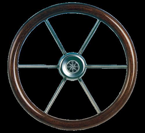 Allpa  6-Spaaks stuurwiel Leader Wood RVS met mahoniehouten rand  A=550mm  B=100mm