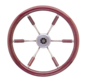 6-Spaaks stuurwiel Leader Prestige RVS met mahoniehouten rand  A=360mm  B=100mm