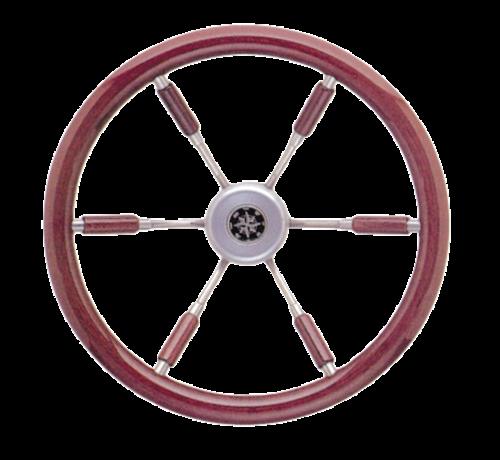 Allpa  6-Spaaks stuurwiel Leader Prestige RVS met mahoniehouten rand  A=390mm  B=100mm