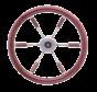 6-Spaaks stuurwiel Leader Prestige RVS met mahoniehouten rand  A=390mm  B=100mm