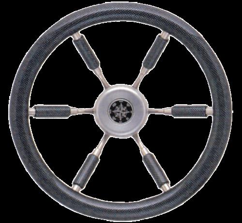Allpa  6-Spaaks stuurwiel 'Elegant' RVS met carbon-look rand en deels spaken  A=370mm  B=100mm
