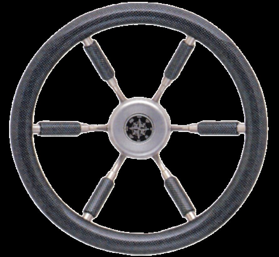 6-Spaaks stuurwiel 'Elegant' RVS met carbon-look rand en deels spaken  A=370mm  B=100mm