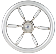 6-Spaaks stuurwiel Leader Silver RVS met zilver-look rand en deels spaken  A=370mm  B=100mm