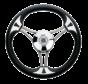 3-Spaaks stuurwiel Model 23 RVS met zwarte vinyl rand  A=350mm  B=60mm