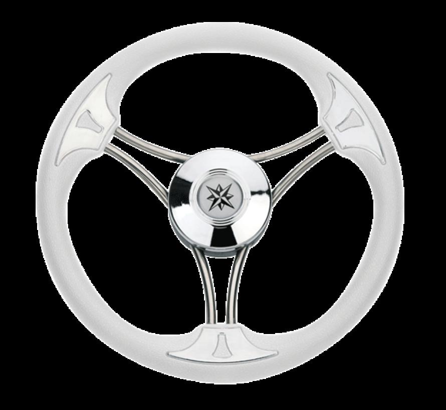 3-Spaaks stuurwiel Model 23 RVS met witte vinyl rand  A=350mm  B=60mm
