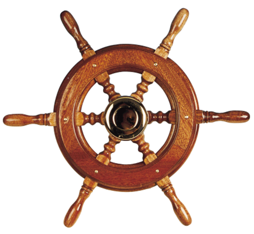 6-Spaaks stuurwiel type 2 klassiek mahoniehouten stuur  adapter voor twee conussen  D=650mm
