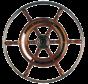 6-Spaaks stuurwiel type 3 klassiek mahoniehouten stuur met RVS hoepel incl. adapter  D=490mm