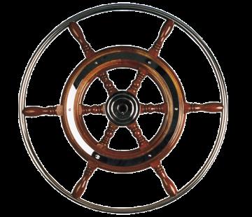 Allpa 6-Spaaks stuurwiel type 3 klassiek mahoniehouten stuur met RVS hoepel incl. adapter  D=700mm
