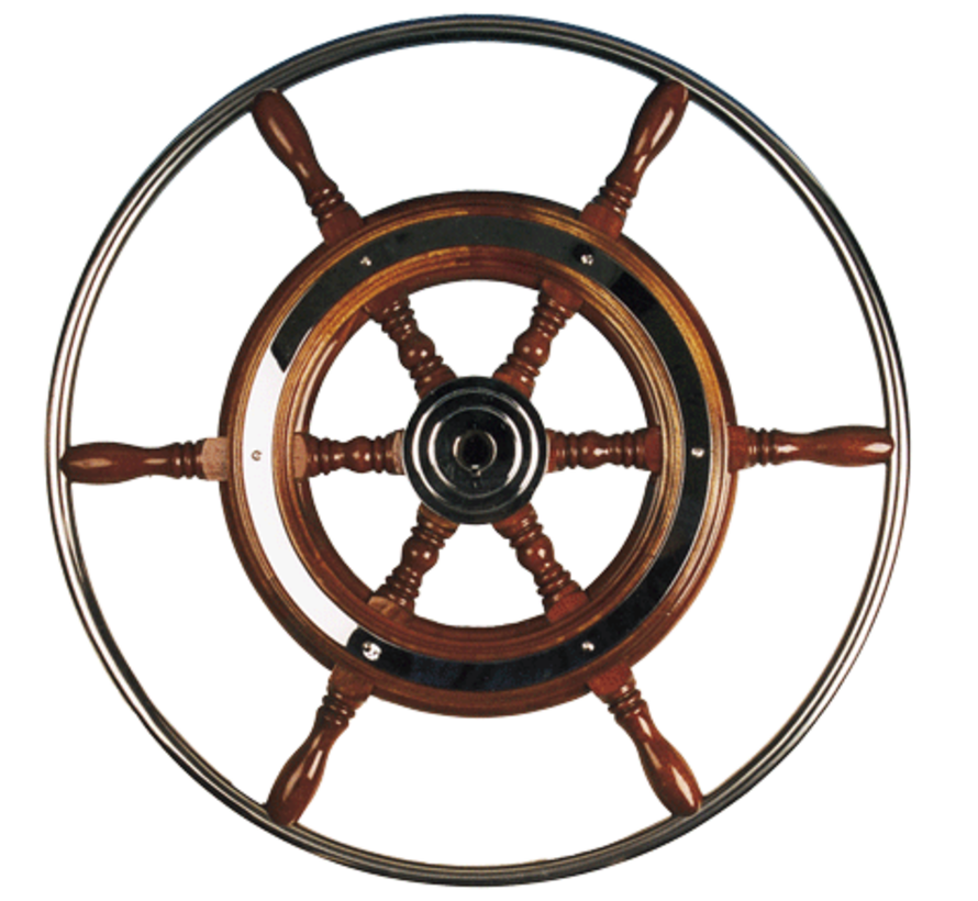 6-Spaaks stuurwiel type 3 klassiek mahoniehouten stuur met RVS hoepel incl. adapter  D=700mm
