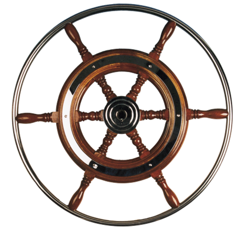 Allpa  6-Spaaks stuurwiel type 3 klassiek mahoniehouten stuur met RVS hoepel incl. adapter  D=800mm