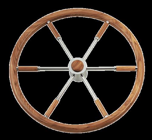 6-Spaaks stuurwiel type 6 RVS met mahoniehouten rand  vingergrip en adapter voor 2 conussen