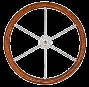 6-Spaaks stuurwiel type 6N RVS met teakhouten rand  vingergrip en adapter voor twee conussen
