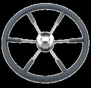 Allpa 6-Spaaks stuurwiel type 9 RVS met zwarte P.U. rand  Ø450mm