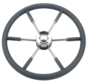 6-Spaaks stuurwiel type 9 RVS met zwarte P.U. rand  Ø450mm