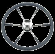 Allpa 6-Spaaks stuurwiel type 9 RVS met zwarte P.U. rand  Ø700mm