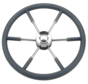 6-Spaaks stuurwiel type 9 RVS met zwarte P.U. rand  Ø700mm
