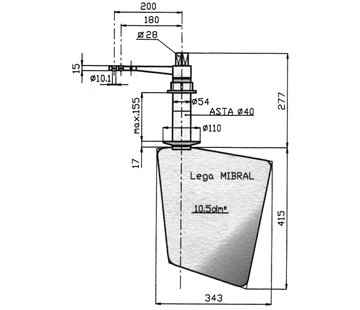Seastar Radice Bronzen Roer type 14 /10P  voor vlakke bodem. bootlengte: 8-12m
