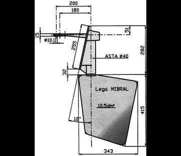 Seastar Radice Bronzen Roer type 14 /10S 0Graden  voor spiegelmontage. bootlengte: 8-12m