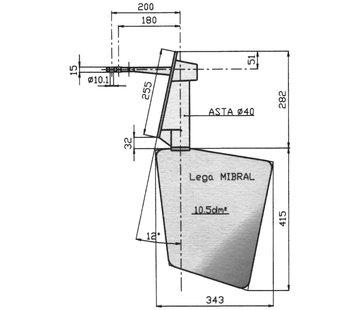 Seastar Radice Bronzen Roer type 14 /10S 12Graden  voor spiegelmontage. bootlengte: 8-12m