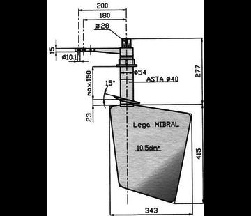 Seastar Radice Bronzen Roer type 14 /10v  voor v-bodem. bootlengte: 8-12m