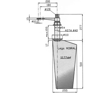 Seastar Radice Bronzen Roer type 16 /11P  voor vlakke bodem. bootlengte: 8-12m