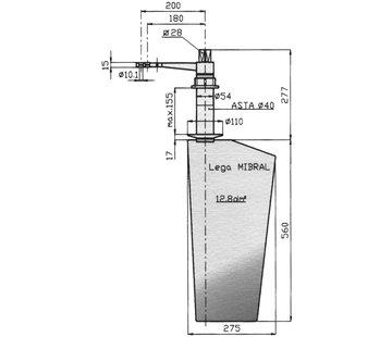 Seastar Radice Bronzen Roer type 16 /13P  voor vlakke bodem. bootlengte: 8-12m