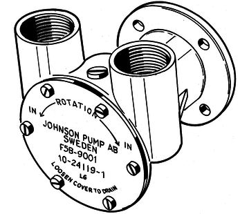 Johnson Johnson Pump bronzen koelwater-impellerpomp F5B-9 (Mitsubishi S4S-4DQ  Mercedes OM636  OM616)