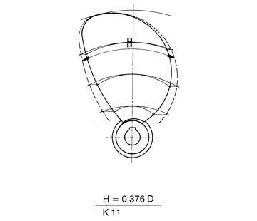 Radice Radice 2-blads bronzen scheepsschroef type K11  14x09  asgat Diameter 25mm  conus 1:10  rechts